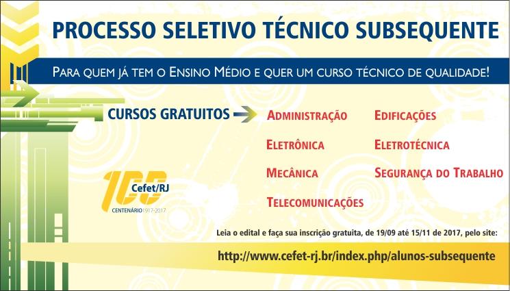 Processo seletivo para os cursos técnicos subsequentes - 1º semestre/2018