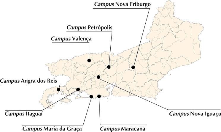 Mapa dos campi do Cefet/RJ